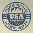Stamp with name of Minnesota, Minneapolis, vector illustration
