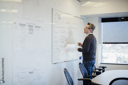 Caucasian businessman writing on whiteboard in conference room