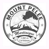 Black stamp with words Mount Pelee, Martinique, vector poster