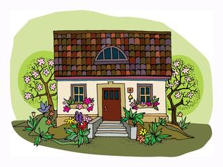 Basic RGBCartoon hand drawing house
