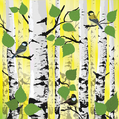 Bright sunlight in the forest, the birds in the trees, vector