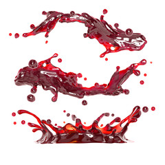 abstract 3d liquid splash of red wine or cherry juice