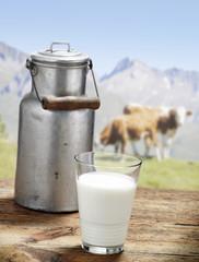 Milchkanne mit Glas