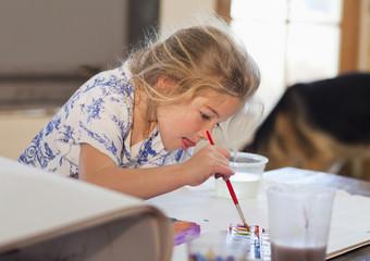 Caucasian girl painting
