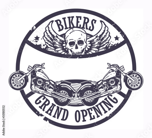 Stamp with skull and the words Bikers Grand Opening inside