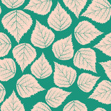 Seamless stylized birch leafs pattern background for design
