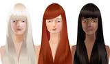blond, red and brown hair girls