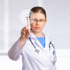 Beautiful Woman Doctor Touching Medical Symbol