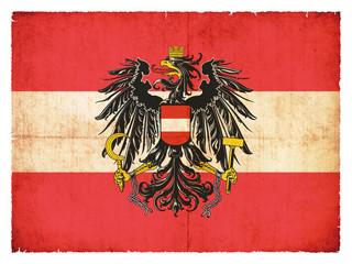 Grunge-Flagge Österreich mit Wappen