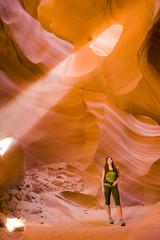 Persian woman hiking in canyon