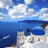 Santorini island with popular churches in Greece