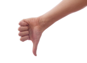 Image of human hand showing thumb down