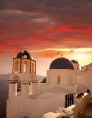 Santorini island with popular churches in Greece