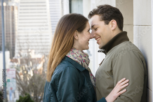 Caucasian couple about to kiss