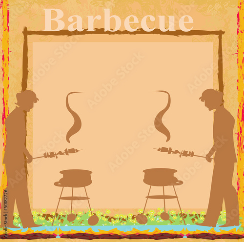 man cooking on his barbecue - Invitation card