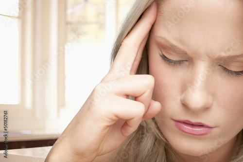 Caucasian woman with headache