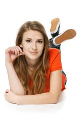 Young woman lying on the studio floor