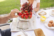 Caucasian couple enjoying breakfast together