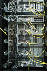 Close up of server rack and wires