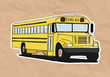 old school bus illustration on old paper