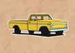 vintage pickup illustration on old paper