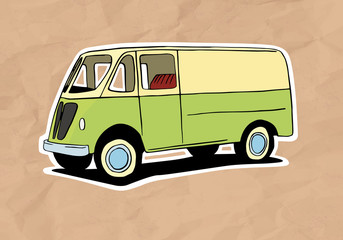 vintage van illustration on old paper