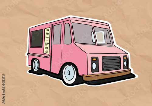 ice cream truck illustration on old paper