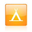 camping orange square glossy web icon