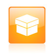 box orange square glossy web icon