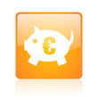 piggy bank orange square glossy web icon