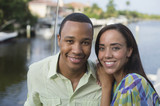 Smiling mixed race couple
