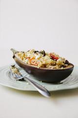 Eggplant dinner on plate