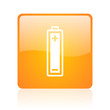 battery orange square glossy web icon