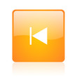 prev orange square glossy web icon