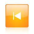 prev orange square glossy web icon