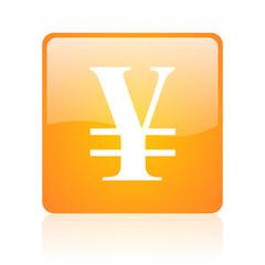 yen orange square glossy web icon