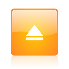eject orange square glossy web icon