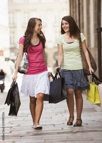 Caucasian women shopping together