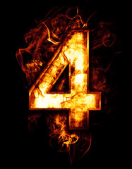 four, illustration of  number with chrome effects and red fire o