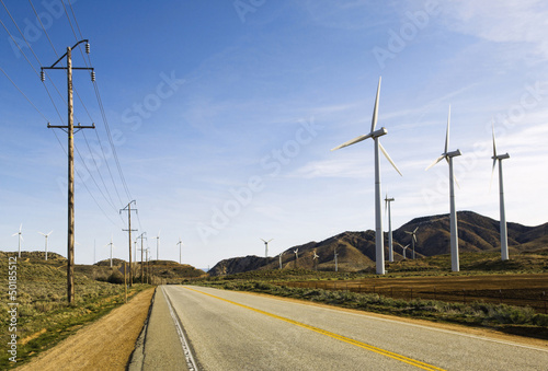 Wind turbines in remote area