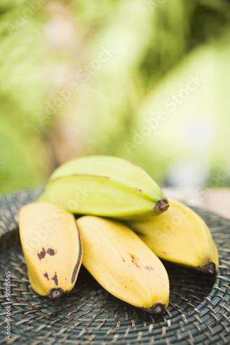 Bunch of plantains on table