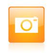 camera orange square glossy web icon