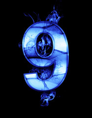 nine, illustration of  number with chrome effects and blue fire