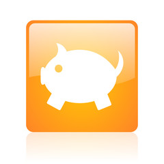 piggy bank orange square glossy web icon