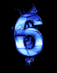 six, illustration of  number with chrome effects and blue fire o