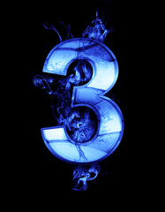 three, illustration of  number with chrome effects and blue fire