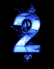 two, illustration of  number with chrome effects and blue fire o