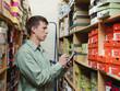 Caucasian man working in stockroom