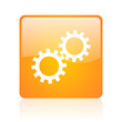 gears orange square glossy web icon