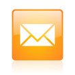 mail orange square glossy web icon